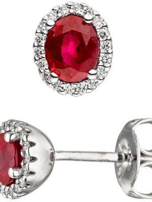 SIGO Ohrstecker oval 585 Gold Weißgold 36 Diamanten Brillanten 2 Rubine rot Ohrringe