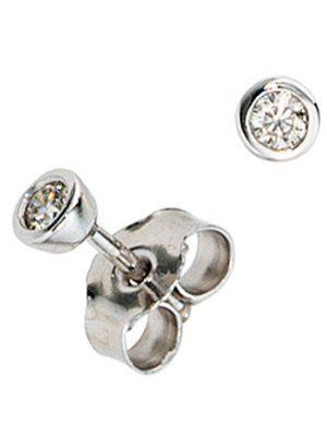 SIGO Ohrstecker rund 585 Gold Weißgold 2 Diamanten Brillanten 0,10ct. Ohrringe