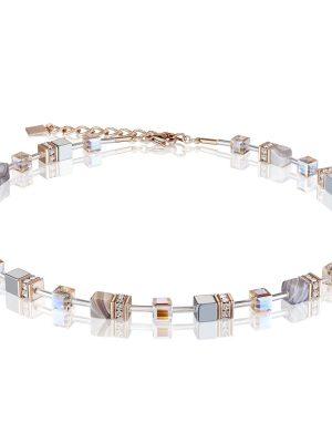Coeur de Lion 4017/10-0230 Halskette GeoCUBE® Botswana Swarovski® Achat Hämatit Apricot