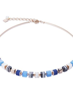 Coeur de Lion 4963/10-0706 Kette GeoCUBE® Swarovski® Pavé Malachit Blau