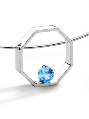 FJF JEWELLERY Halskette - Octagon Blau - FJF0010004SLB