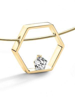 FJF JEWELLERY Halskette - Pentagon Weiß - FJF0010003YWH