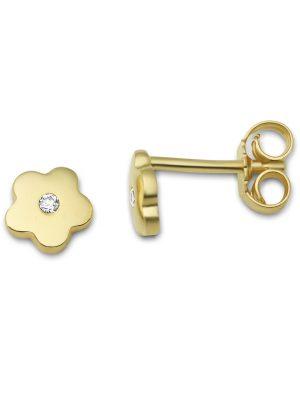 Ohrstecker Blume aus 375 Gold mit Zirkonia