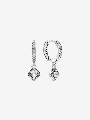 Pandora 298503C01 Ohrringe Creolen Funkelndes Quadrat Sterling-Silber