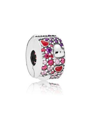 Pandora 797838CZRMX Charm Clip Asymmetric Hearts of Love Silber