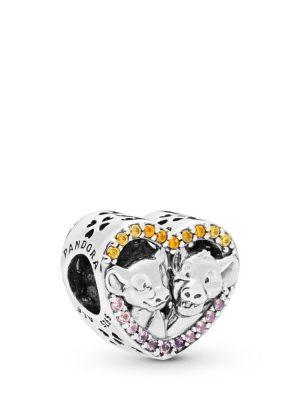 Pandora Disney 798044NPRMX Charm Sparkling Simba & Nala Heart Silber