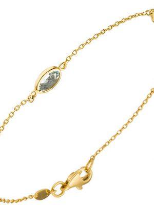 SIGO Armband 585 Gold Gelbgold 2 Amethyste 1 Citrin 1 Blautopas Goldarmband