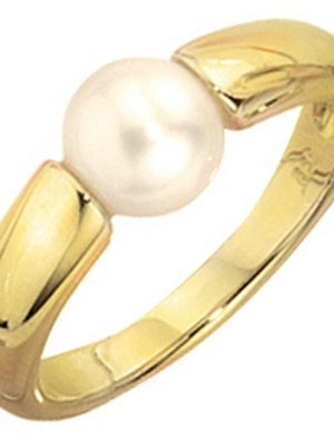 SIGO Damen Ring 333 Gold Gelbgold 1 Süßwasser Perle Goldring Perlenring