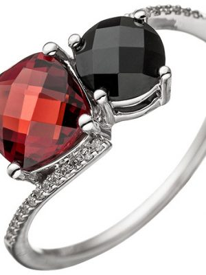 SIGO Damen Ring 585 Gold Weißgold 24 Diamanten Brillanten 1 Granat rot 1 Onyx