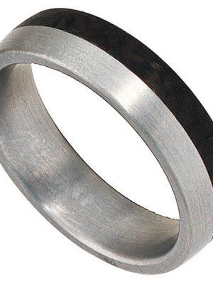 SIGO Partner Ring Edelstahl mattiert mit Carbon