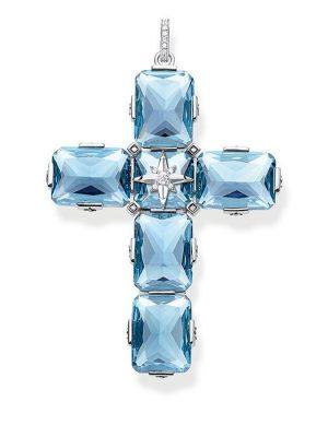 Thomas Sabo Anhänger - Kreuz große blaue Steine - PE881-644-31