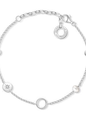 Thomas Sabo X0273-167-14 Charm-Armband Perlen Sterling-Silber 19 cm