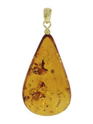 Anhänger - Tropfen ca. 42 mm lang - Silber 925/000 vergoldet - Bernstein , OSTSEE-SCHMUCK gelb