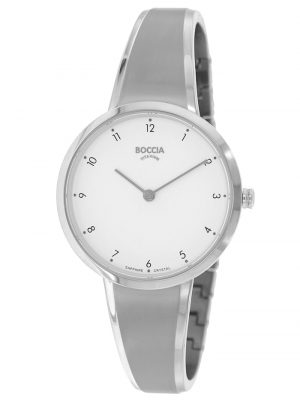 Damen-Armbanduhr Titan mit Saphirglas Boccia Silberfarben