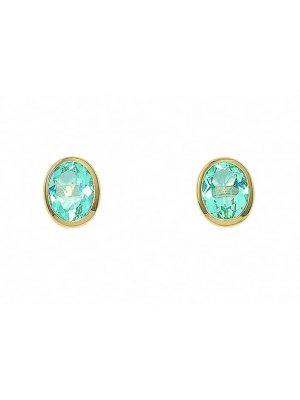 Damen Goldschmuck 585 Gold Ohrringe / Ohrstecker mit Aquamarin 1001 Diamonds blau