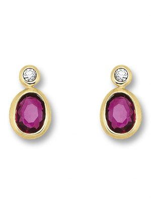 Damen Schmuck Ohrringe / Ohrstecker aus 585 Gelbgold mit 0,02 ct Diamant Rubin One Element gold