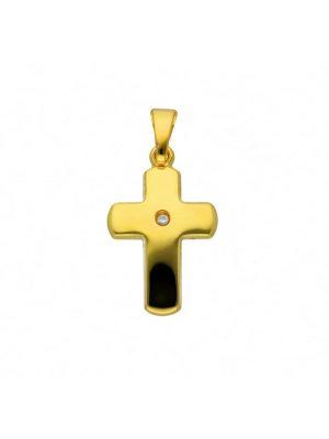 Damen & Herren Goldschmuck 585 Gold Kreuz Anhänger mit Diamant 1001 Diamonds gold