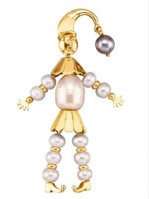 Harlekin-Anhänger Diemer Perle Weiß