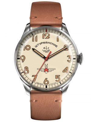 Herren-Armbanduhr Gagarin Vintage Retro Sturmanskie Creme-Weiß