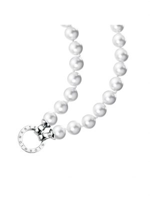 Kette Muschelkern Perlen, Ringverschluss, Silber 925 Giorgio Martello Weiss