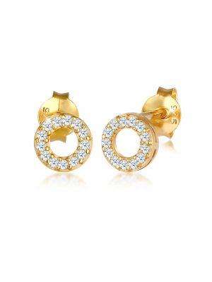 Ohrringe Stecker Kreis Diamant (0.13 Ct.) 925 Silber DIAMORE Gold