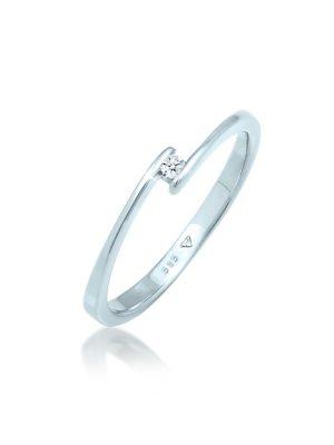 Ring Edel Verlobung Diamant (0.03 Ct.) 585 Weißgold DIAMORE Silber