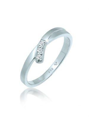 Ring Trio Verlobung Diamant (0.06 Ct.) 585 Weißgold DIAMORE Silber