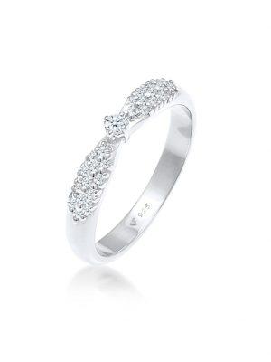 Ring Verlobung Glamoure Diamant (0,16 Ct) 925 Silber DIAMORE Silber
