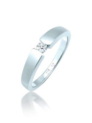 Ring Verlobungsring Diamant (0.10 Ct.) 585 Weißgold DIAMORE Silber