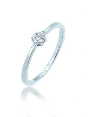Ring Verlobungsring Diamanten (0.045 Ct.) 585 Weißgold DIAMORE Silber