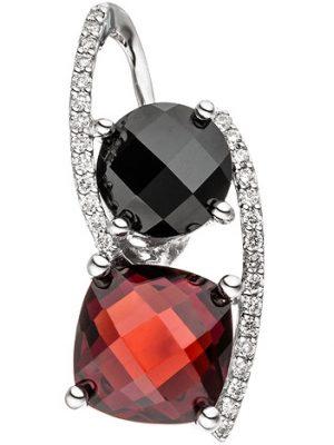 SIGO Anhänger 585 Gold Weißgold 29 Diamanten Brillanten 1 Granat rot 1 Onyx