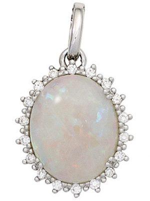 SIGO Anhänger oval 585 Gold Weißgold 1 Opal 18 Diamanten Brillanten 0,10ct.