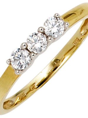 SIGO Damen Ring 333 Gold Gelbgold Weißgold bicolor 3 Zirkonia Goldring