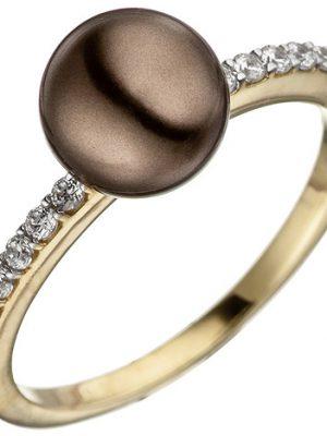 SIGO Damen Ring 333 Gold Gelbgold bicolor mit dunkler Perle und Zirkonia Perlenring