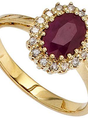 SIGO Damen Ring 585 Gold Gelbgold 1 Rubin rot 16 Diamanten 0,16ct. Goldring