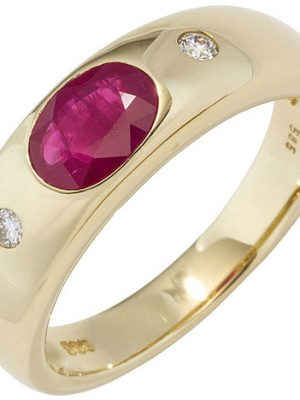SIGO Damen Ring 585 Gold Gelbgold 1 Rubin rot 2 Diamanten Brillanten Goldring
