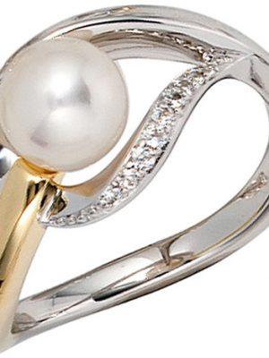 SIGO Damen Ring 585 Gold Weißgold Gelbgold bicolor 1 Süßwasser Perle 9 Diamanten
