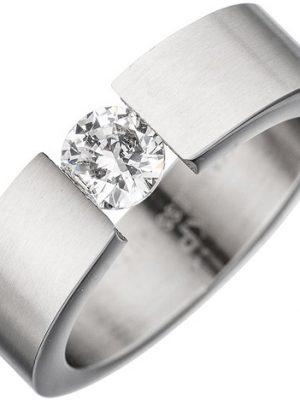 SIGO Damen Ring Edelstahl mattiert 1 Kristall Edelstahlring