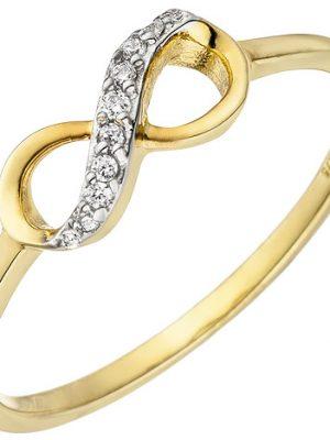 SIGO Damen Ring Unendlichkeit 375 Gold Gelbgold 10 Zirkonia Goldring