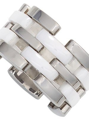 SIGO Damen Ring breit Edelstahl mit Keramik kombiniert