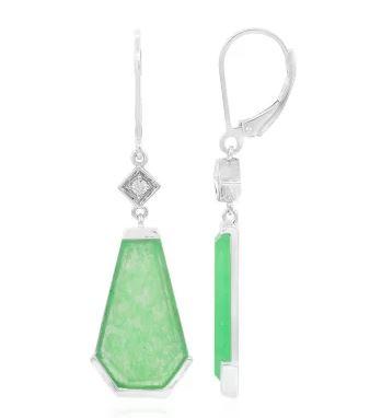 Silberohrringe mit Jade