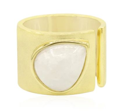 Silberring mit weißem Jadeit