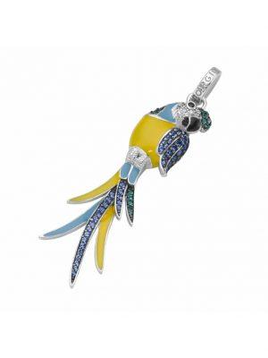 Anhänger Papagei, Zirkonia, Kristallsteine und Kaltemaille, Silber 925 Giorgio Martello Bunt