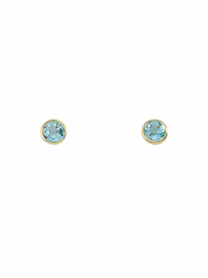 Damen Goldschmuck 585 Gold Ohrringe / Ohrstecker mit Aquamarin Ø 7,2 mm 1001 Diamonds blau