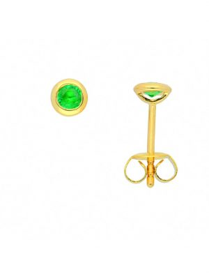 Damen Goldschmuck 585 Gold Ohrringe / Ohrstecker mit Smaragd 1001 Diamonds grün