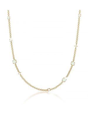 Halskette Erbskette Synthetischer Opal Stein 925 Silber Elli Premium Gold