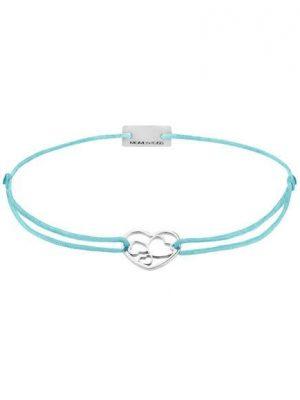 Momentoss Filo Armband - Textil - Blau - Silber rhodiniert - Herzen - 21202027 blau