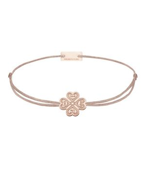 Momentoss Filo Armband - Textil - Braun Beige - rose vergoldet - Kleeblatt - 21201990