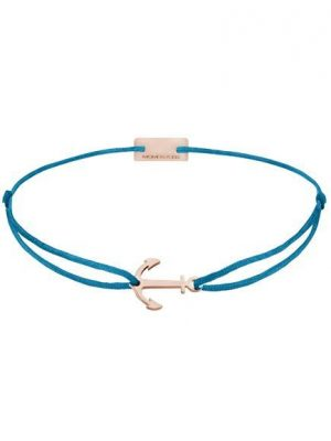 Momentoss Filo Armband - Textil - Petrol Blau - rosé vergoldet - Anker - 21200618