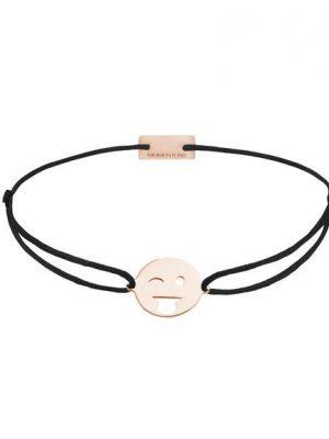 Momentoss Filo Armband - Textil - Schwarz - rosé vergoldet - Emoji One - zwinkern - 21201402